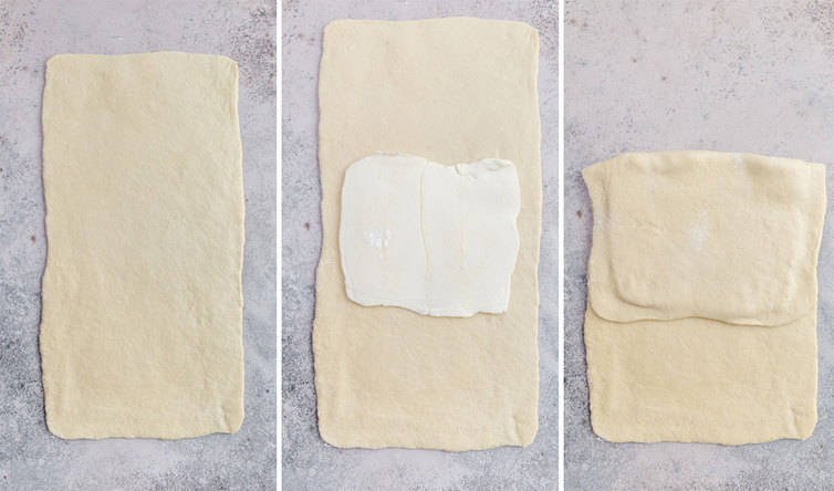 Step-by-step photos of a butter block being folded into dough.