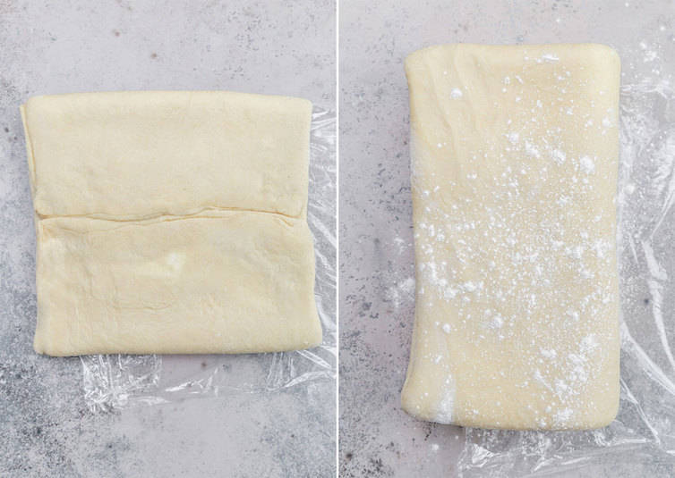 Danish pastry dough folded and prepped for rolling out.