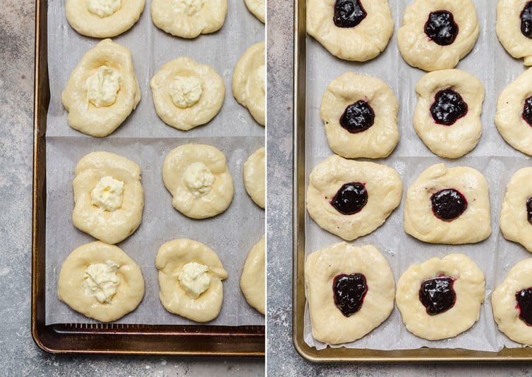 Side by side photos of Danish pastries filled with cheese and fruit before baking.