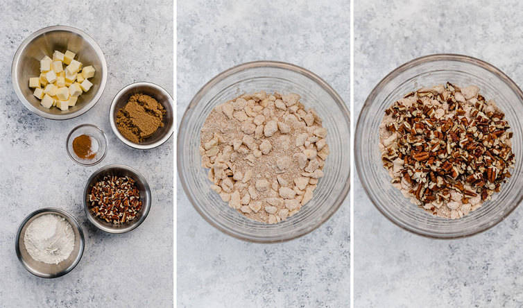 Step by step photos of mixing together a praline topping.