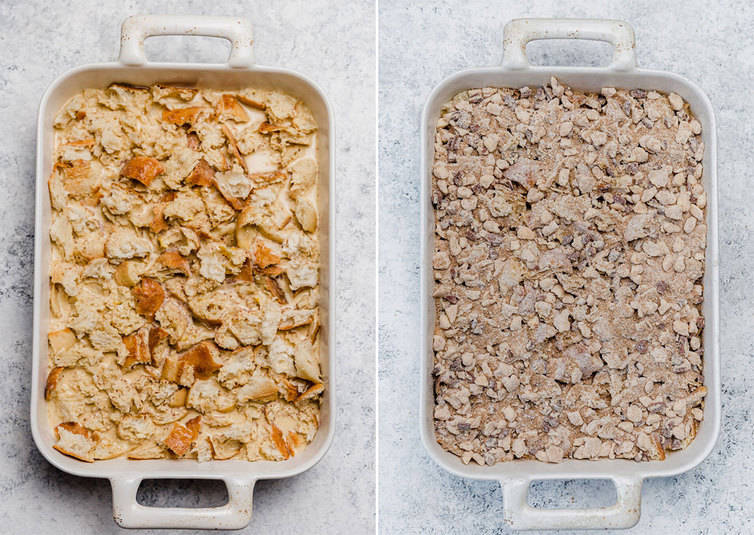 Assembled baked French toast with and without praline topping.