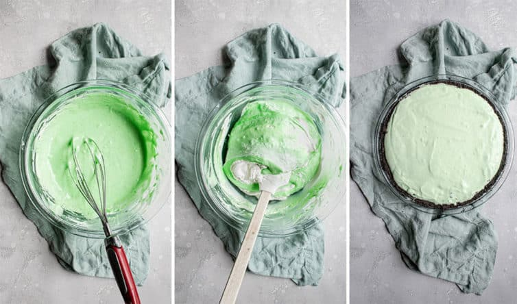 Folding whipped cream into grasshopper pie filling.