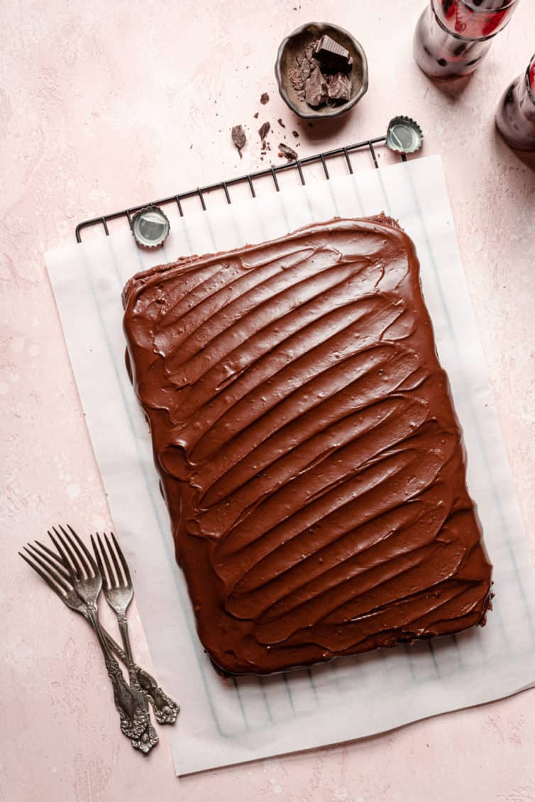 An overhead photo of a frosted chocolate cake.