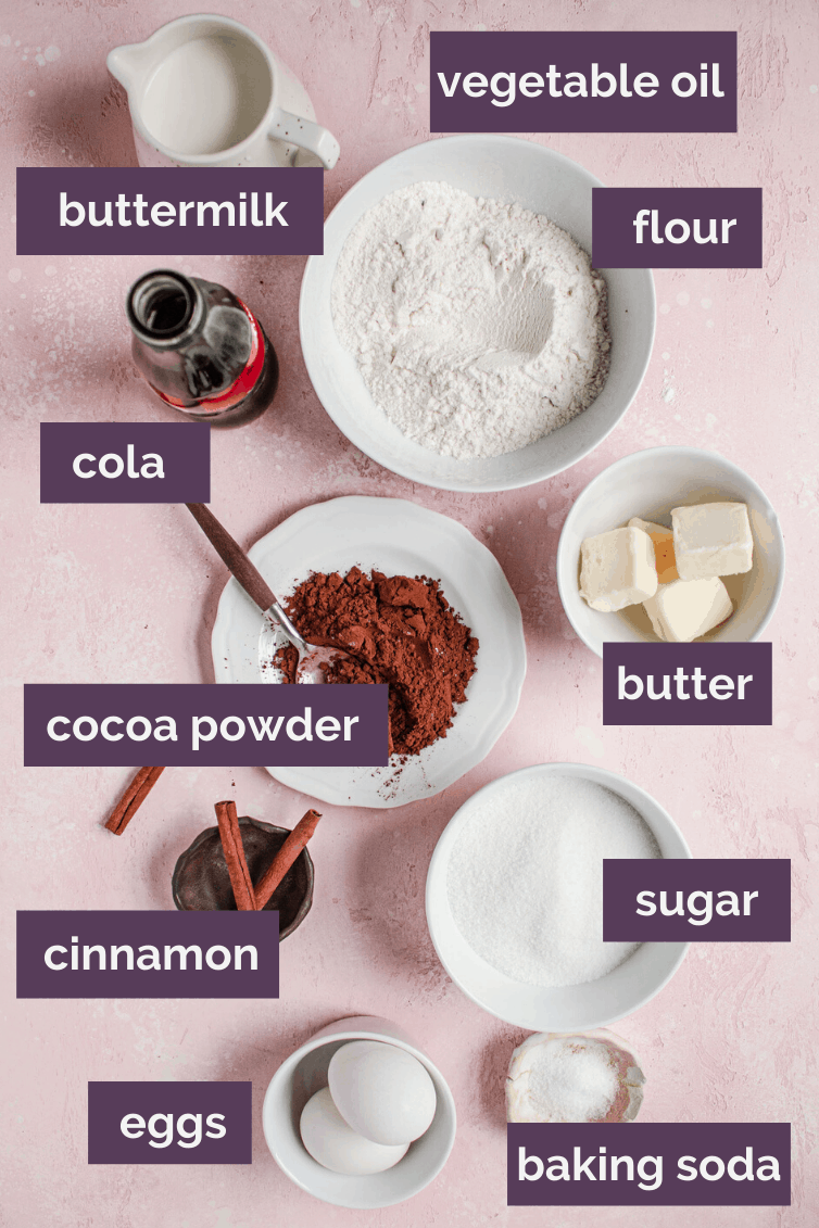 Ingredients collage for a coca cola cake.