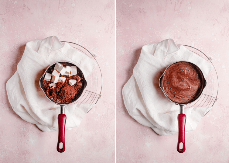 Side by side photos of melting cocoa powder and butter.
