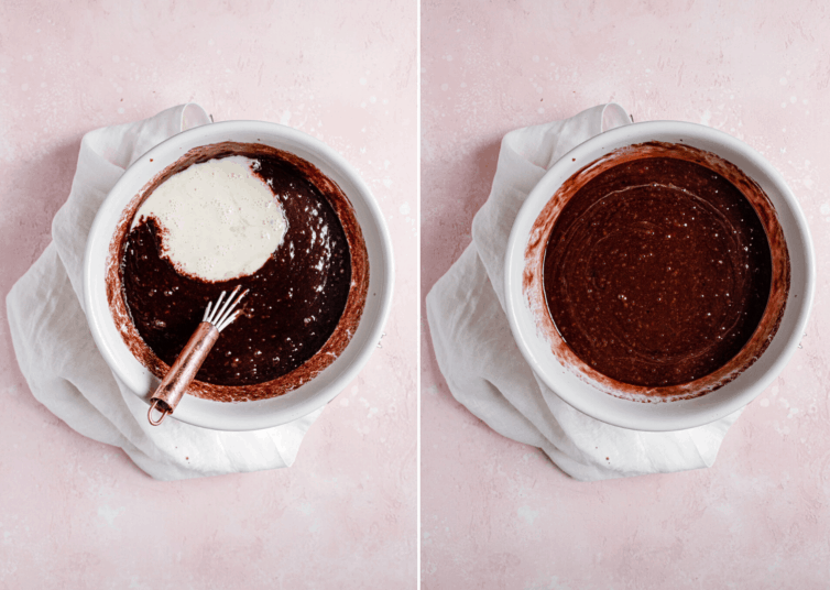 Side by side photos of mixing together batter for cola cake.