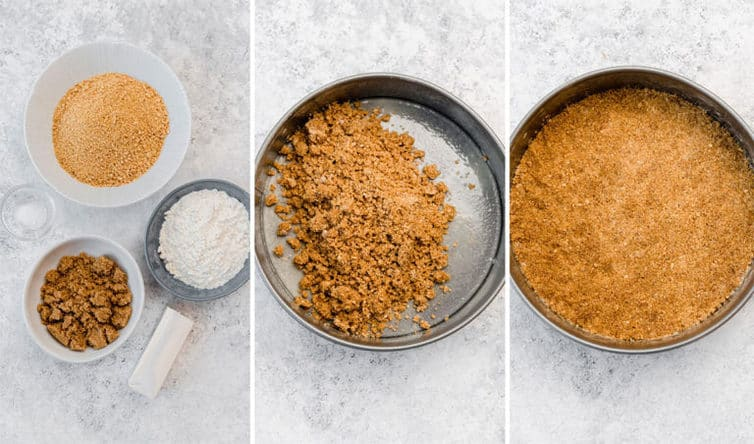 Graham crust ingredients prepped + mixed + pressed into springform pan.