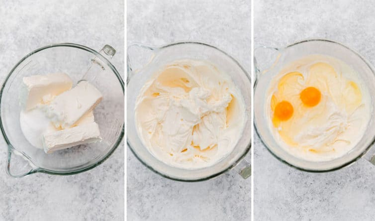 Three step-by-step photos of mixing cheesecake batter.