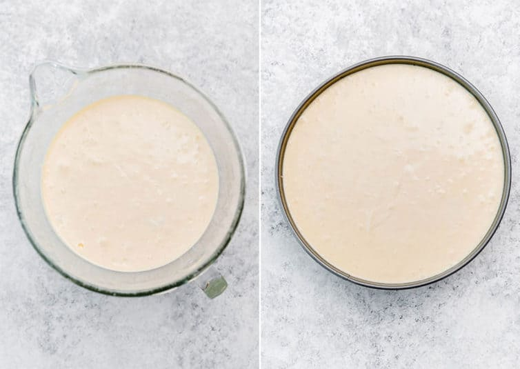 Photos of cheesecake batter prepared in mixing bowl then in springform pan.