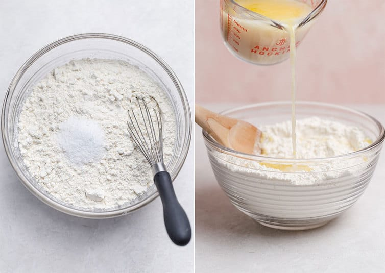 Mixing together pizza dough in a mixing bowl.