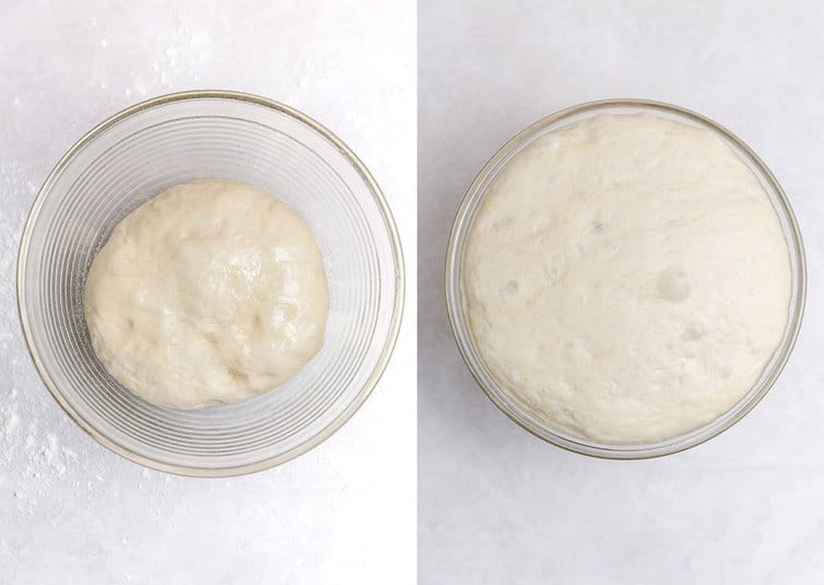 Side by side photos of dough rising in a glass bowl.