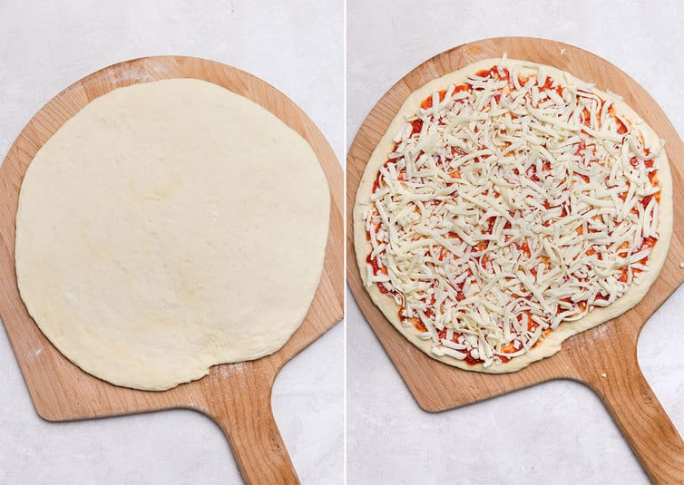 Side by side photos of pizza dough on a pizza peel.