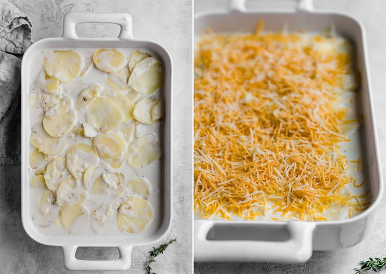 Uncooked scalloped potato ingredients in a baking dish + Baking dish with scalloped potato ingredients covered in shredded cheese
