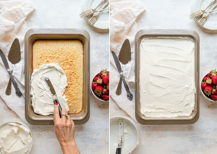 Spreading whipped cream over the top of tres leches cake.