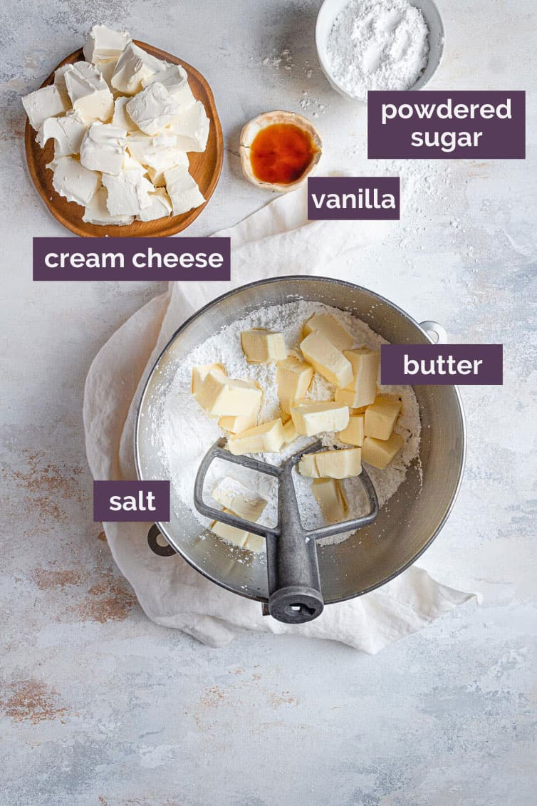 Ingredients for cream cheese frosting prepped with text labels.