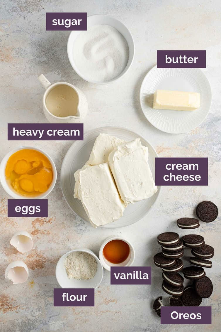 A photo of ingredients with labels prepped for Oreo cheesecake.