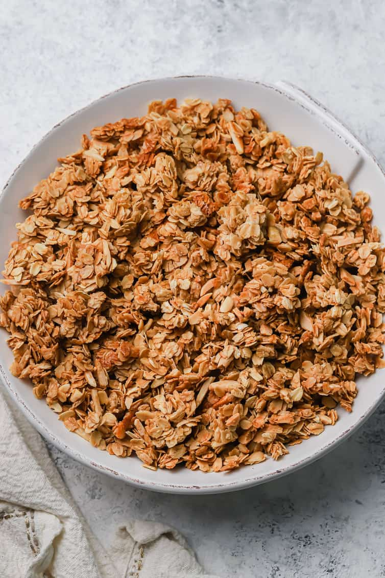 A bowl of baked granola in a bowl.