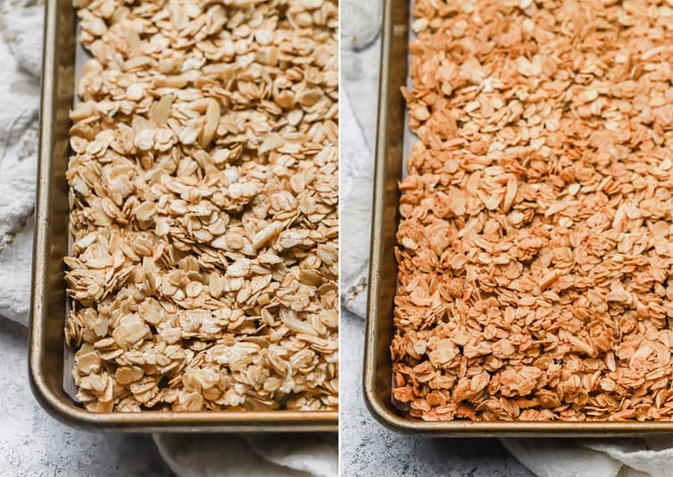 Granola on a baking sheet, before and after baking.