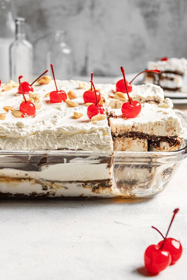 Ice cream sandwich cake in a glass baking dish.