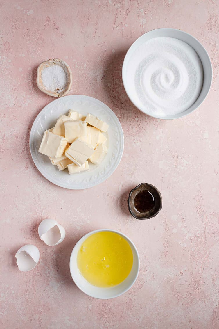 Ingredients for Swiss meringue buttercream prepped.