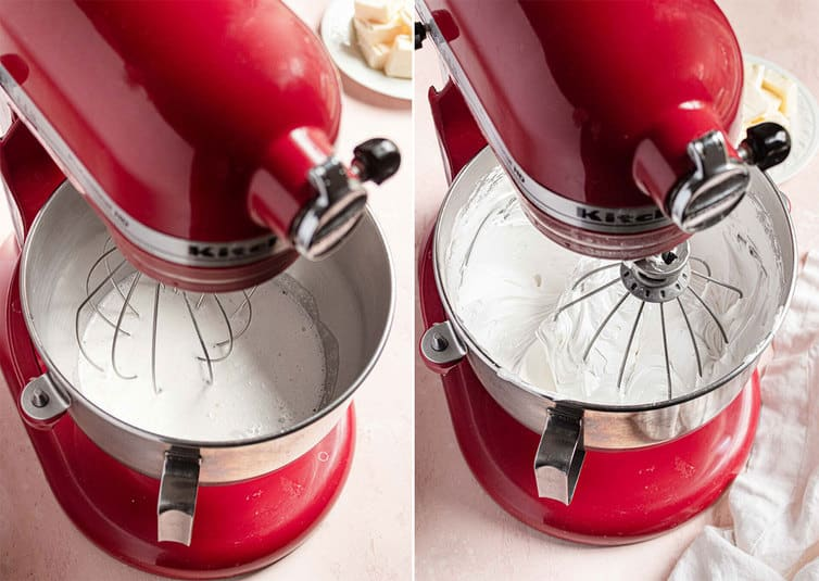 Meringue being whipped in a red stand mixer.