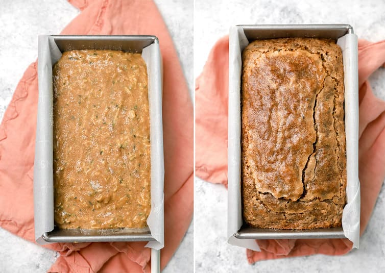 Zucchini bread batter in loaf pan, then photo of fully baked bread.