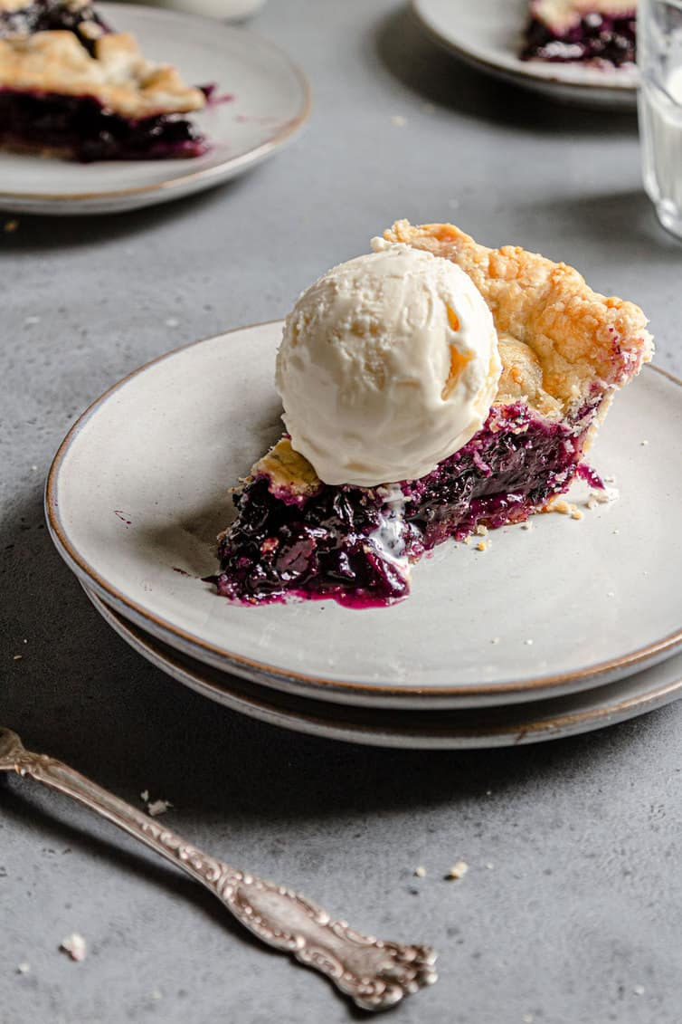 Slice of blueberry pie with scoop of vanilla ice cream on top.