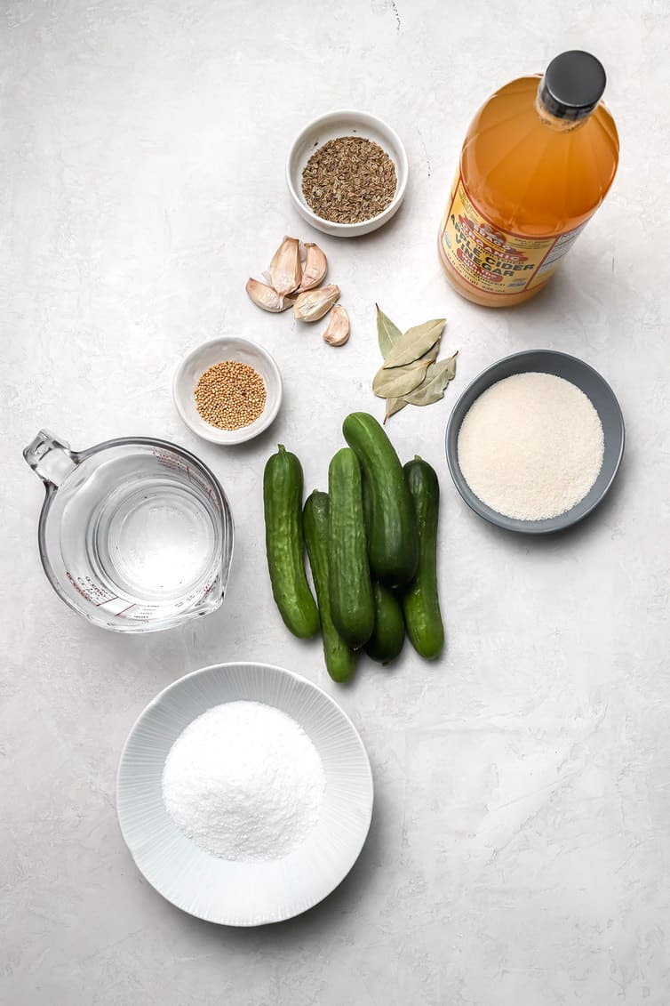 Ingredients for making dill pickles prepped on counter.