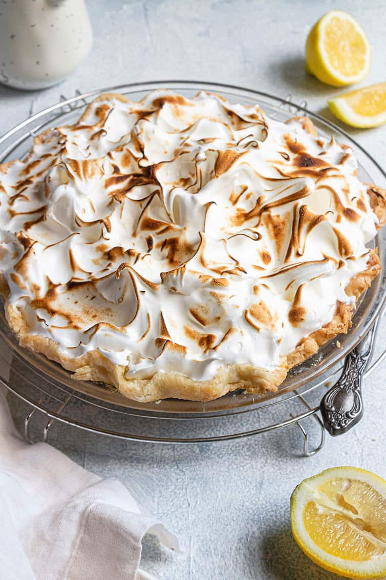 Lemon Meringue Pie with browned meringue on top.