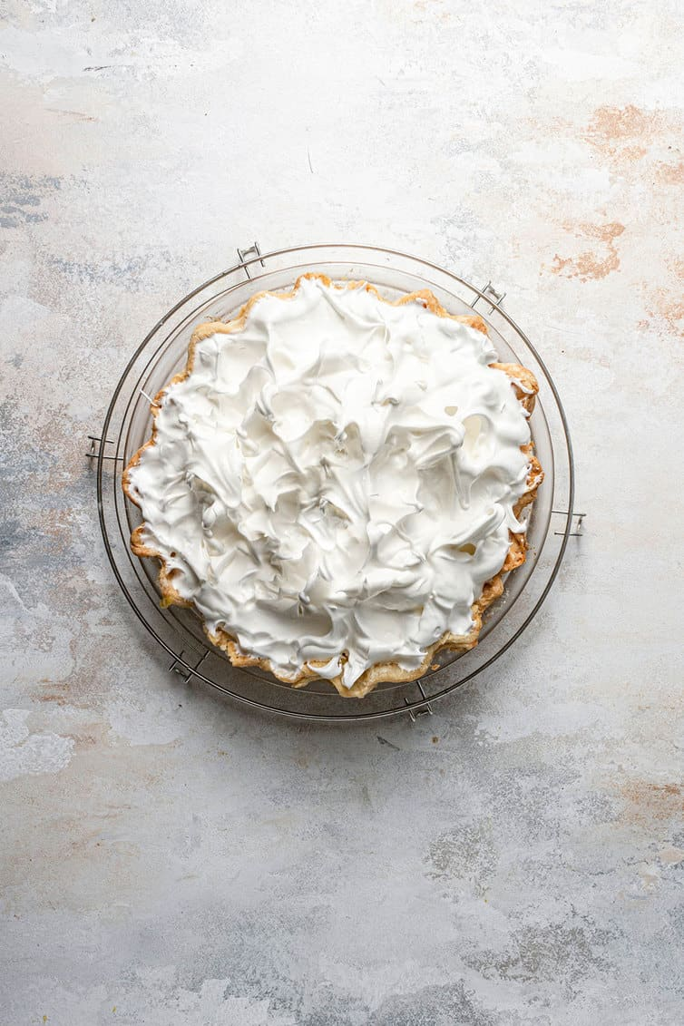 Meringue on top of a lemon meringue pie.