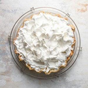 Meringue topping on a lemon meringue pie.