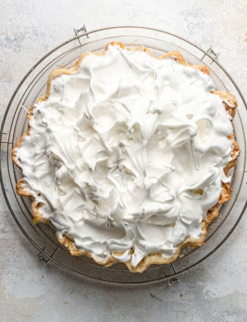 Meringue topping on a lemon meringue pie.