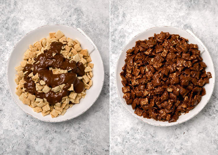 Rice Chex cereal coated with melted chocolate and peanut butter.