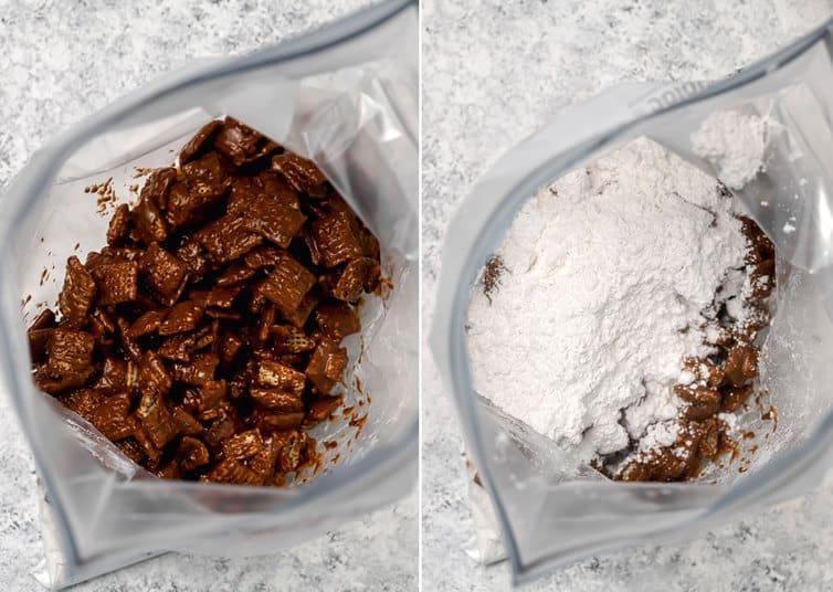 Coating muddy buddies with powdered sugar in a ziploc bag.