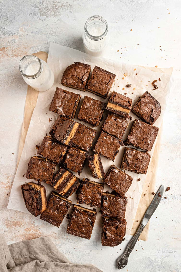 Peanut butter brownies cut into squares.