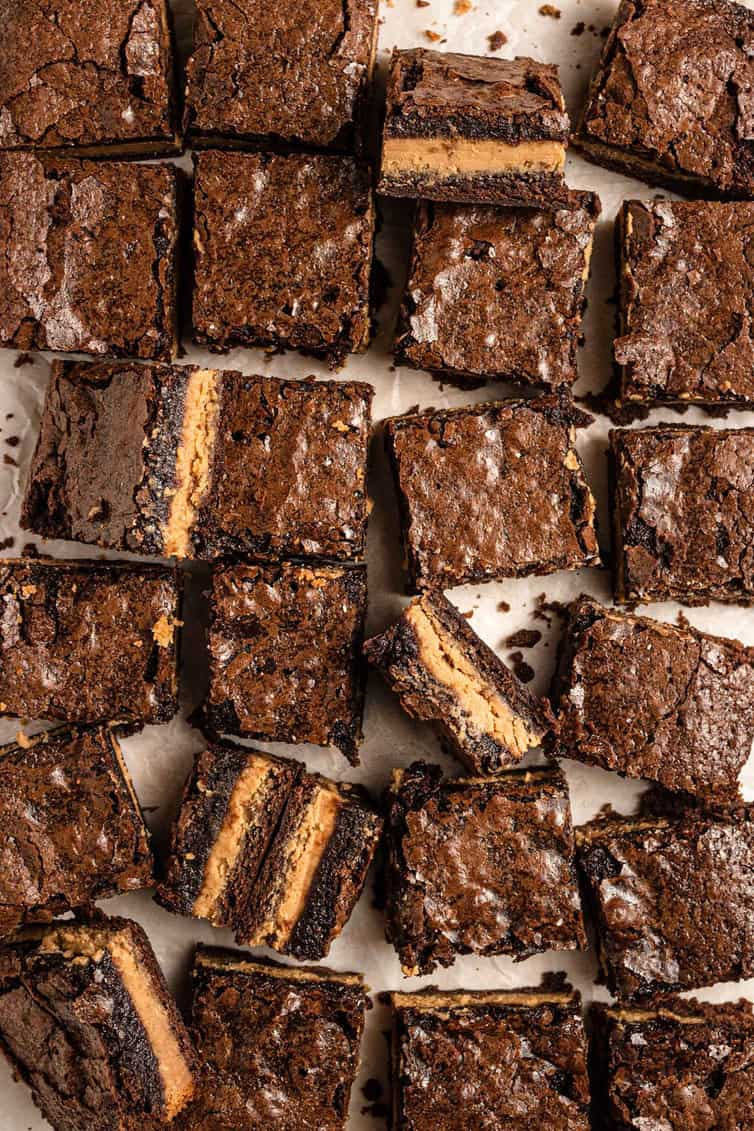 Close up photo of squares of peanut butter brownies.