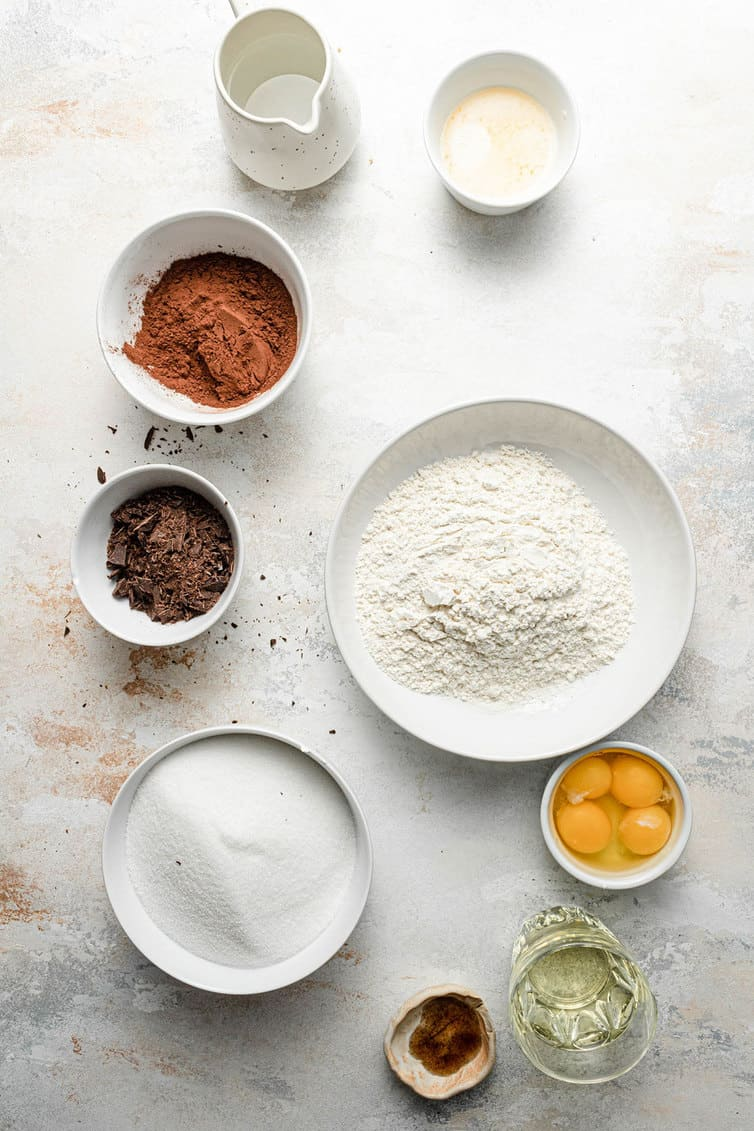 Ingredients for brownies prepped in bowls.
