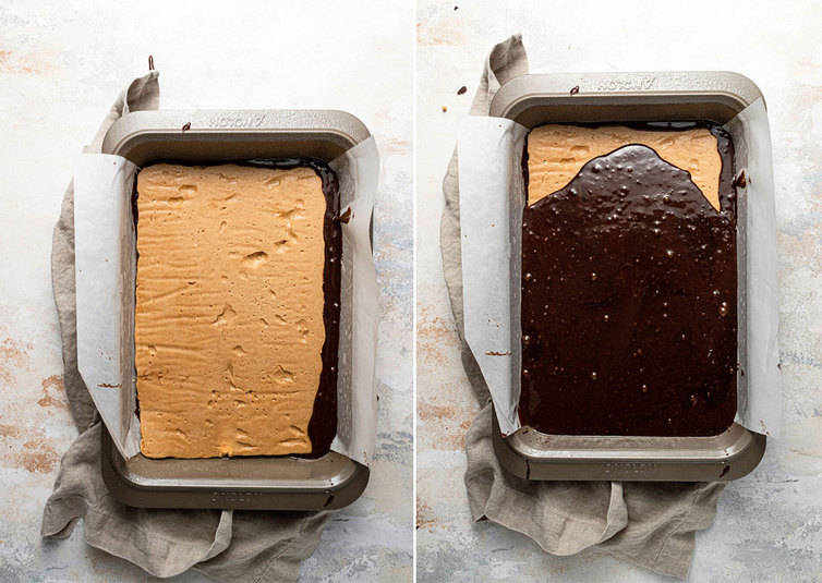 Preparing the layered peanut butter brownies.