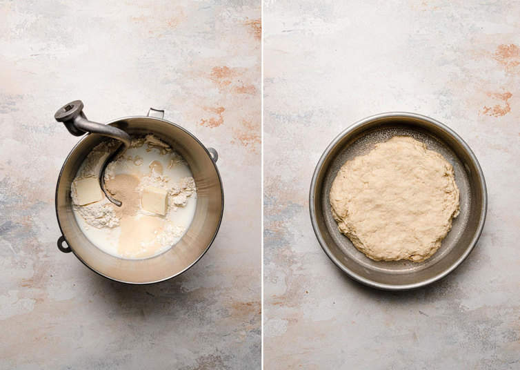 Croissant dough in mixing bowl and then on a plate.