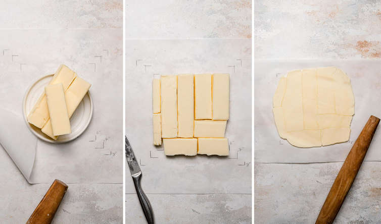 Step-by-step photos for pounding a butter block.