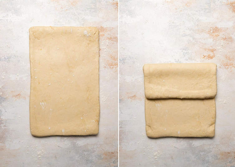 Rolling and folding croissant dough.