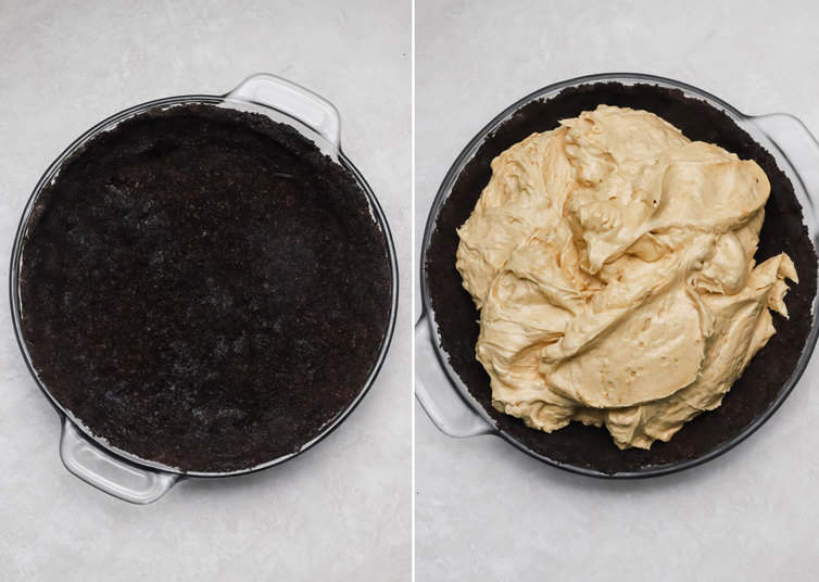 Putting peanut butter filling into Oreo crust.