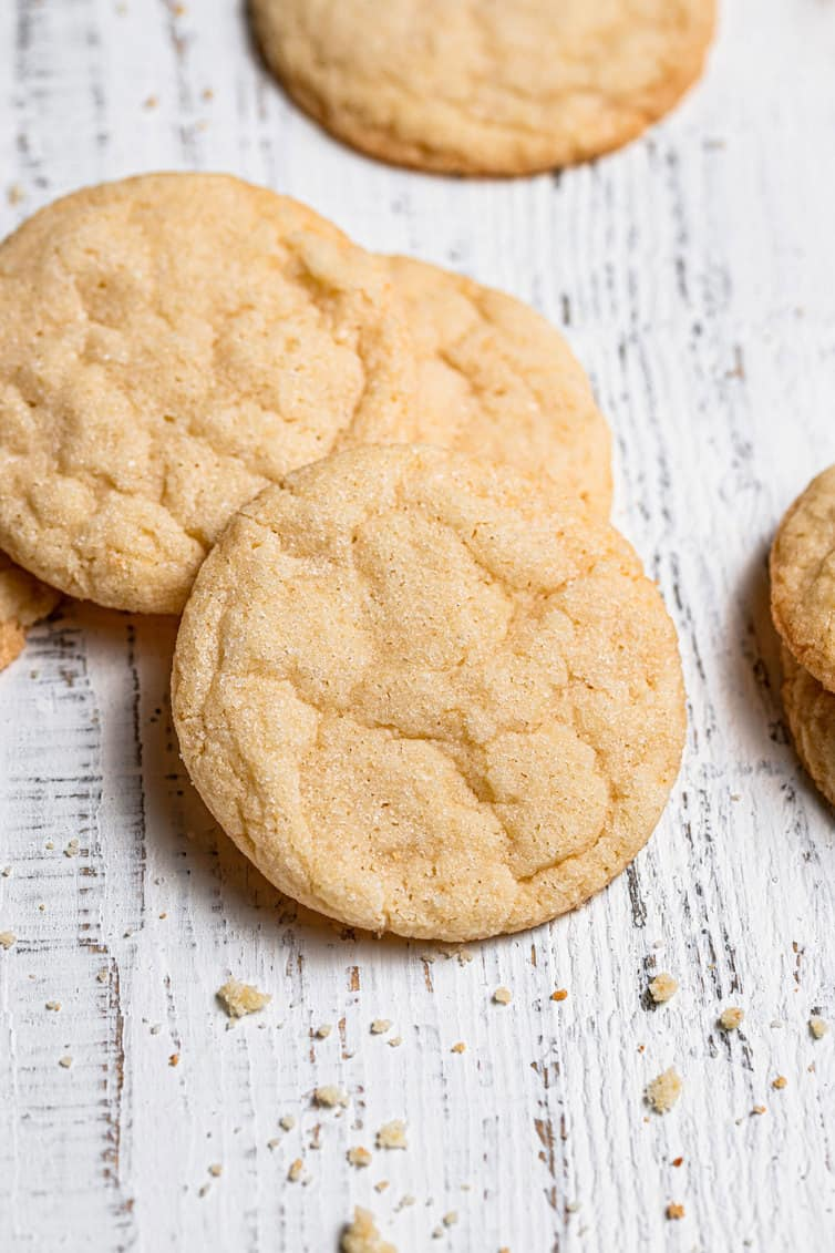 Baked sugar cookies on a white background.