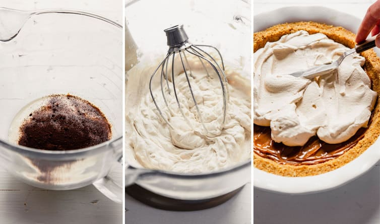 Making coffee whipped cream in glass bowl, then spreading it on top of pie.