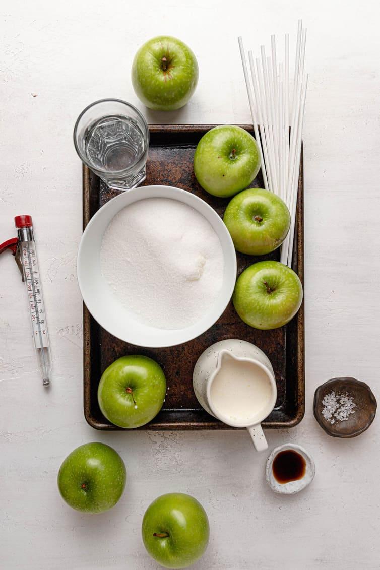 Ingredients prepped for making caramel apples.