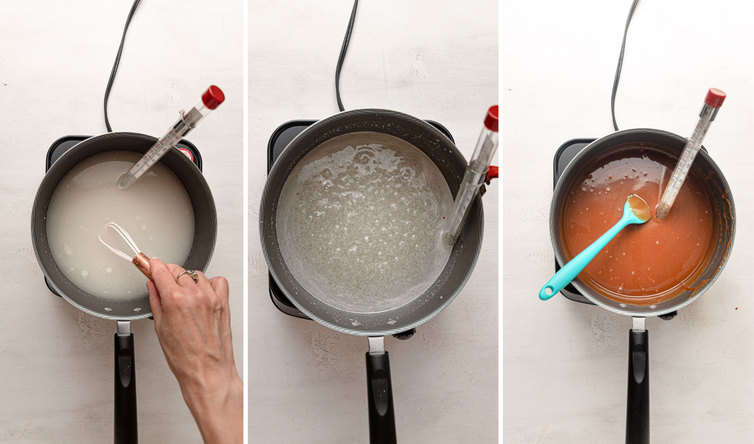 Overhead photos showing three steps to making caramel.