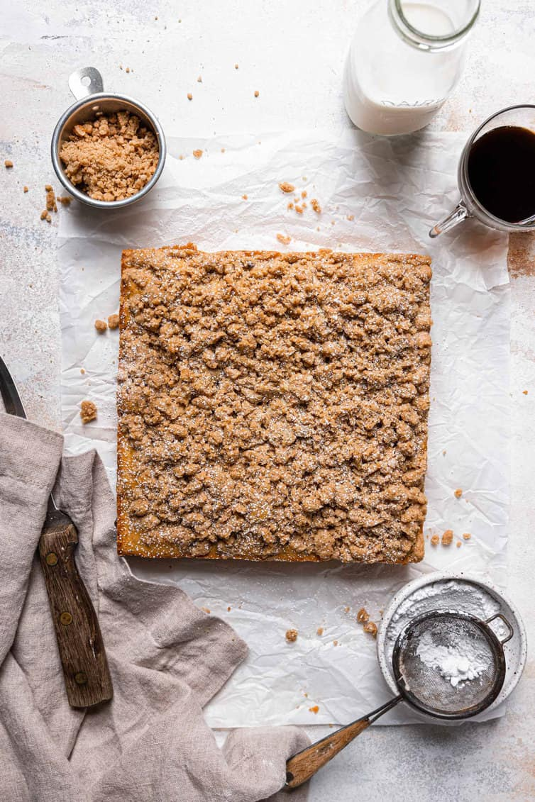 An overhead photo of square crumb cake out of the pan.