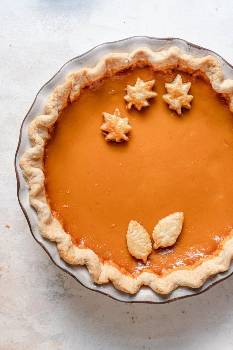 Overhead photo of baked pumpkin pie.