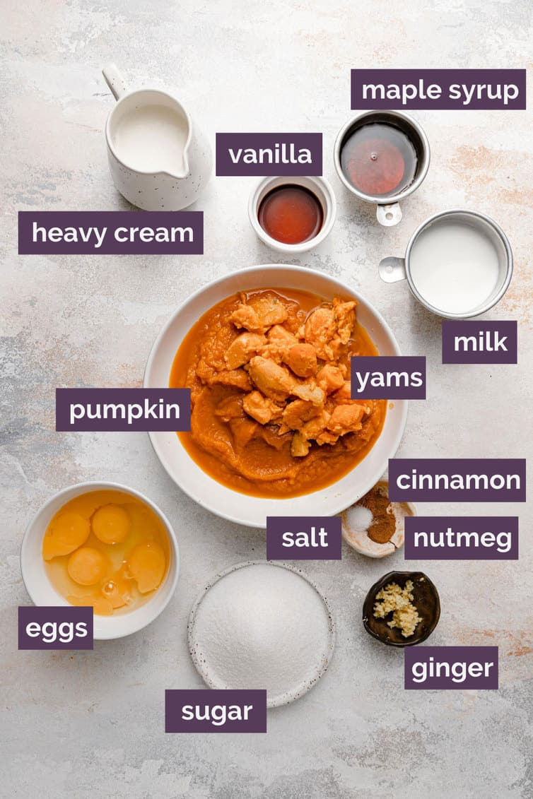 Ingredients prepped and labeled for pumpkin pie