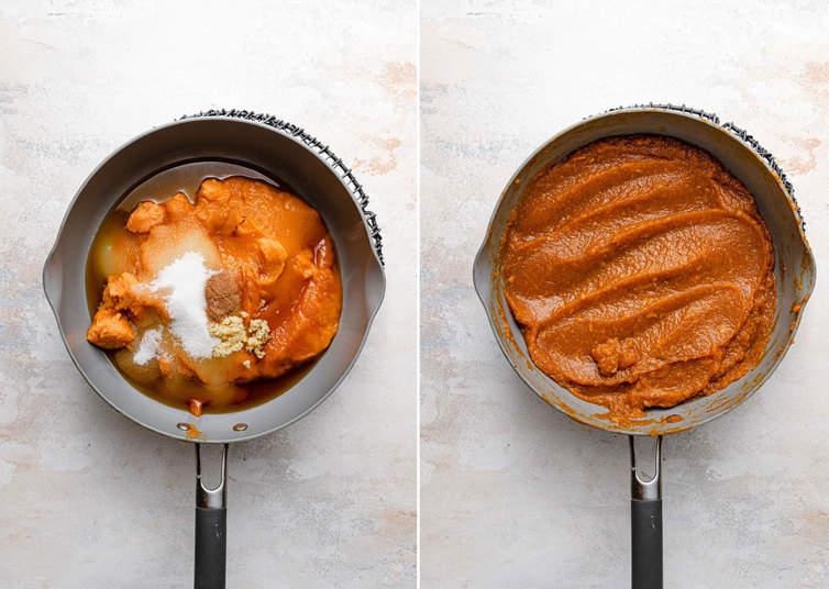 Cooking down pumpkin mixture in saucepan.